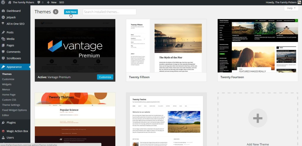 wordpress template step 2a
