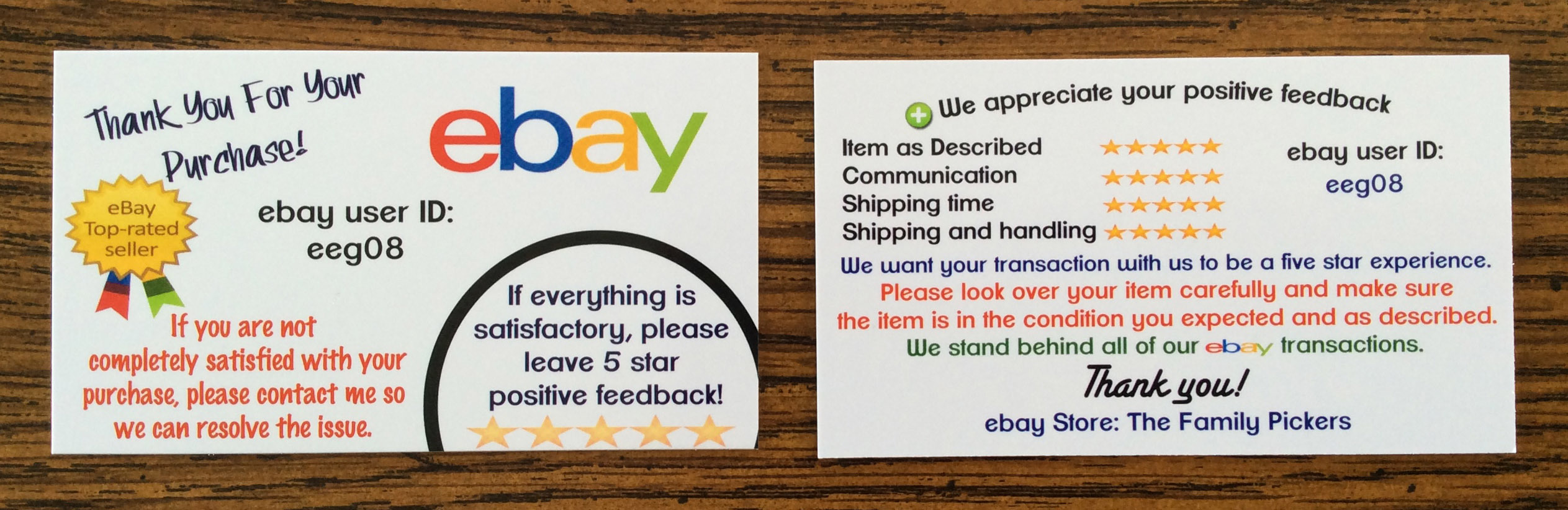 Generous ebay business cards ideas business card ideas etadamfo business cards for ebay user id sellers the family pickers reheart Image collections