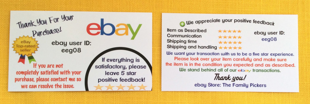 business cards for ebay sellers