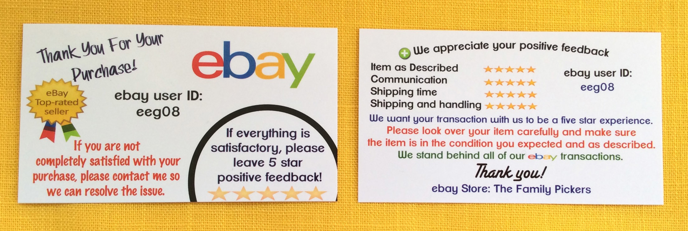 Ebay Business Cards Template By For Ers The Family Pickers