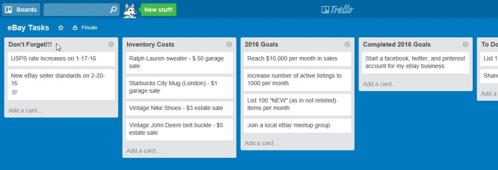 trello don't forget list