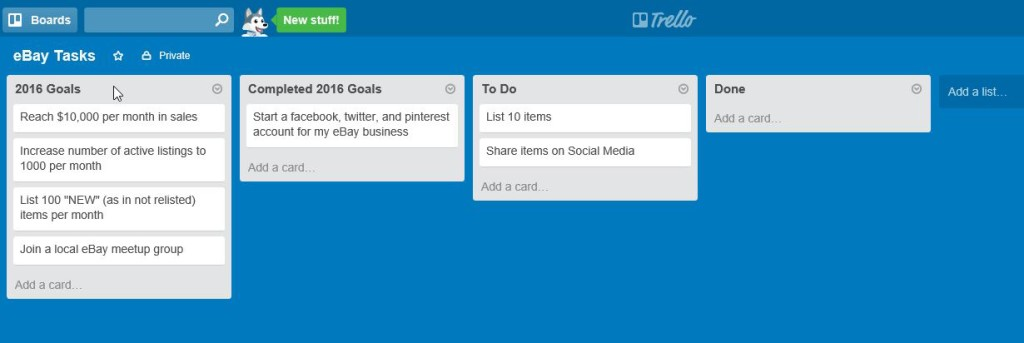 trello goals list