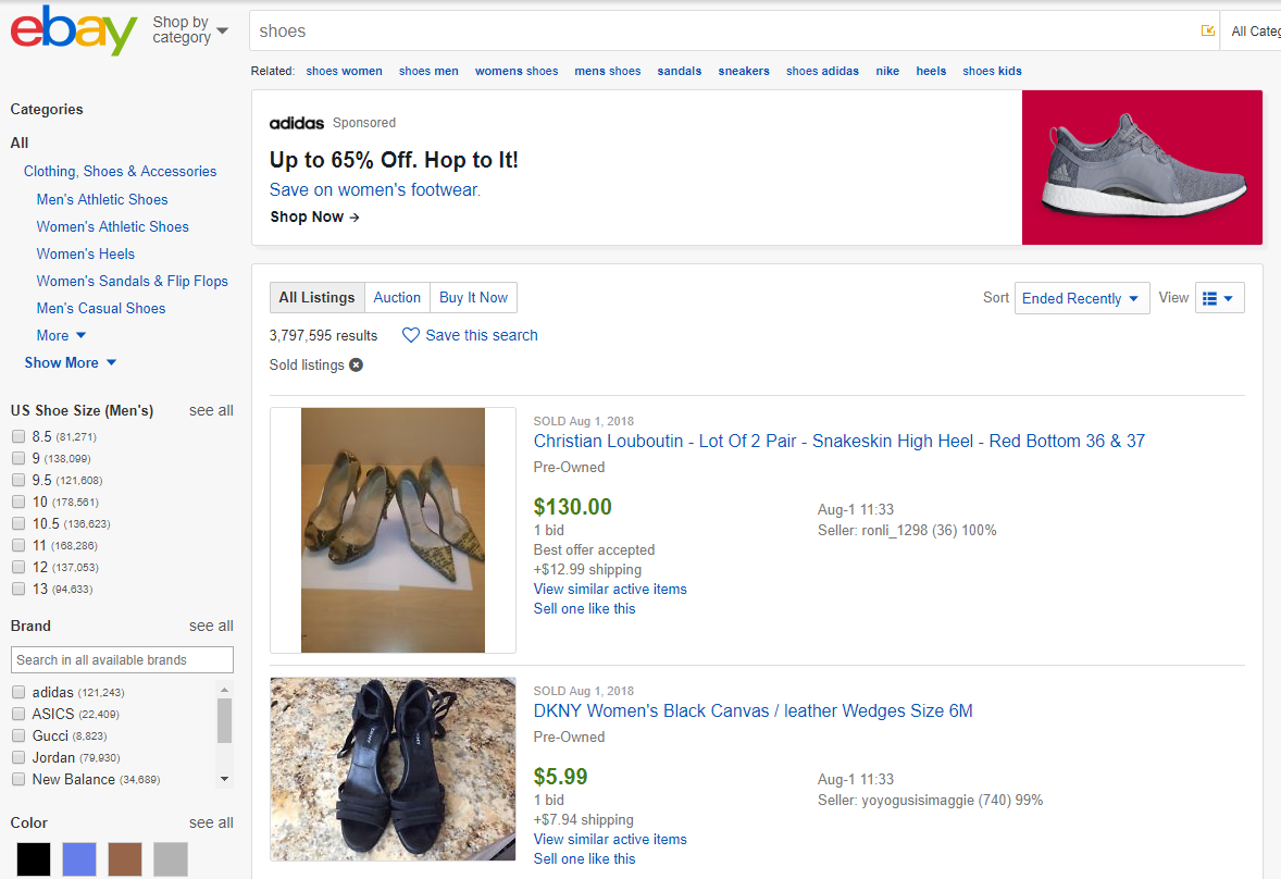 how to sell shoes on eBay